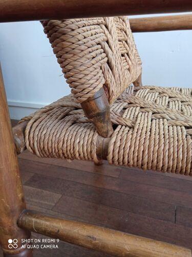 Fauteuils en bois et corde 1950