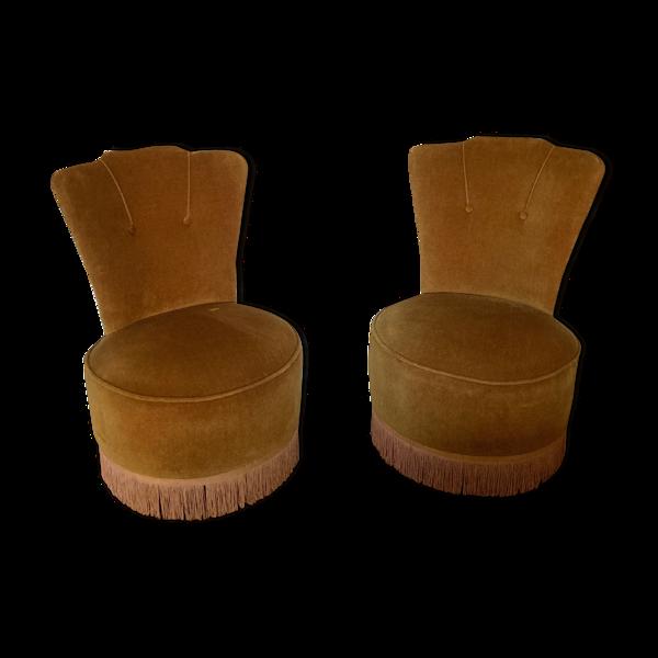 Selency Paire de fauteuils crapaud à franges