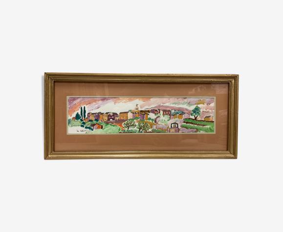 Peinture de paysage encadrée