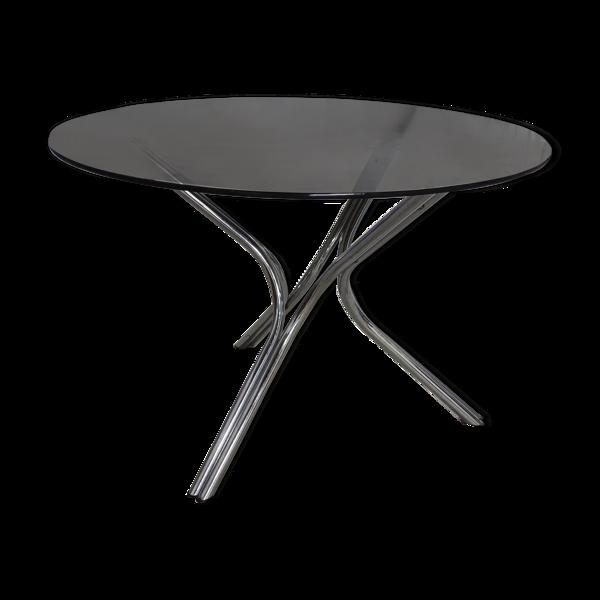 Selency Table tripode en acier chromé et plateau en verre fumé vers 1970
