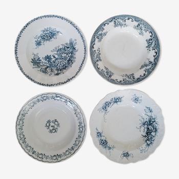 Set 4 assiettes dépareillées bleues