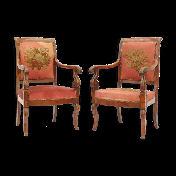 Paire de fauteuils d'époque Restauration