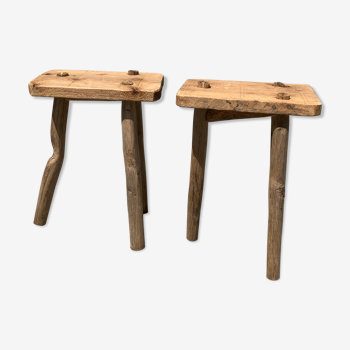 Pair of old wooden tripod tables