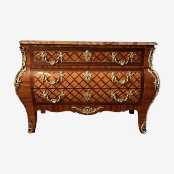 Commode style Régence - placage acajou et bois de rose - Restaurée