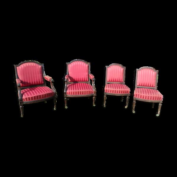 Lot de 2 fauteuils et 2 chaises Louis XVI