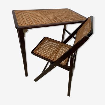 Ensemble petit bureau et sa chaise en cannage années 60