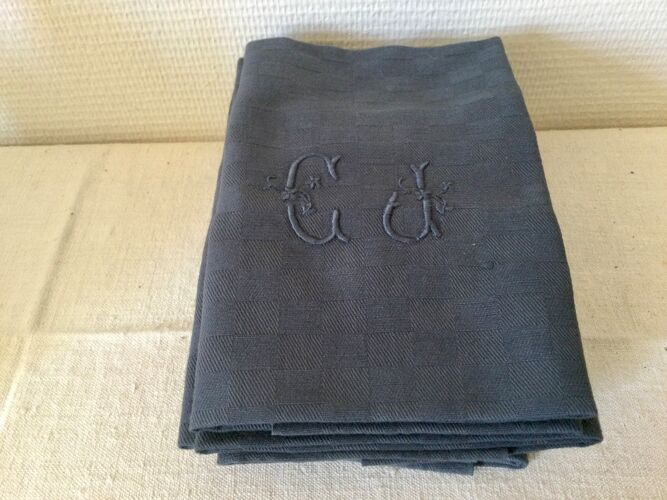 Anciennes serviettes de tables couleur orage avec monogramme CJ