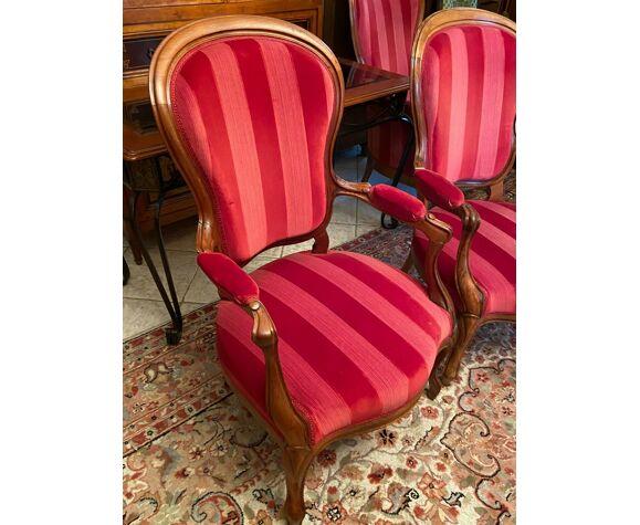 Paire de fauteuils XIXe à dossier violoné noyer massif Louis-Philippe