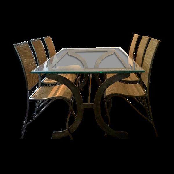 Table à manger et chaises signées Sylvain Subervie