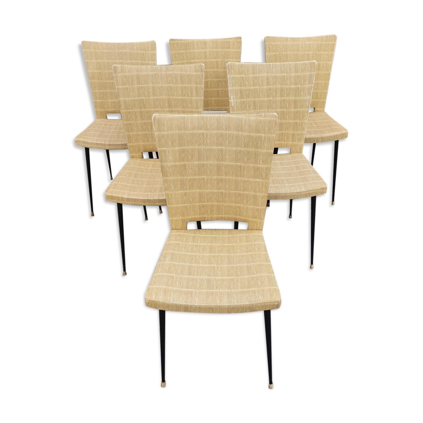 Lot de 6 chaises design skaï acier laiton, vintage, années 50