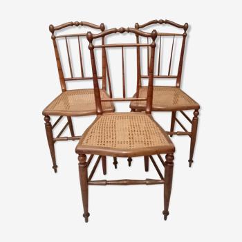 Set de 3 chaises bois et cannage