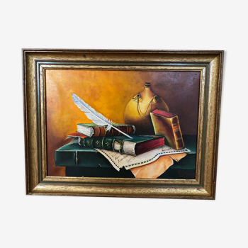 Oil on canvas Still life with books