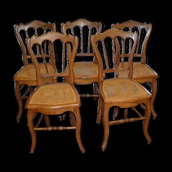 Selency Ensemble de 5 chaises cannées en hêtre