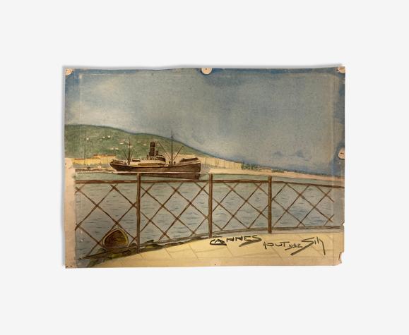 Aquarelle marine vintage