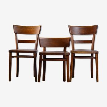 3 chaises de bistrot en bois