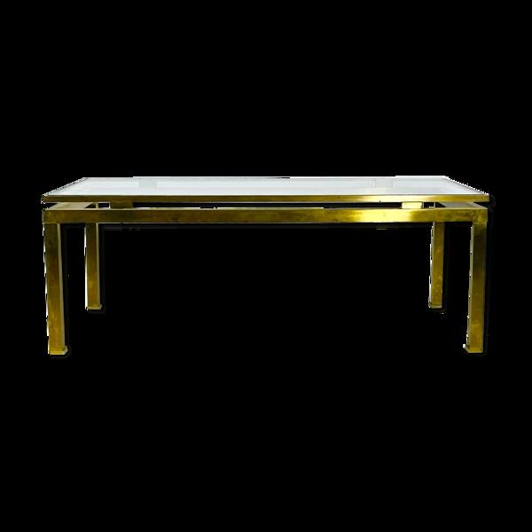 Table basse en laiton et verre de Guy Lefevre pour Maison Jansen, France 1970