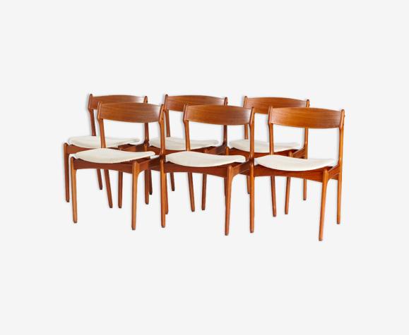 Chaises à manger en teck par erik buch pour o.d. møbler, set de 6
