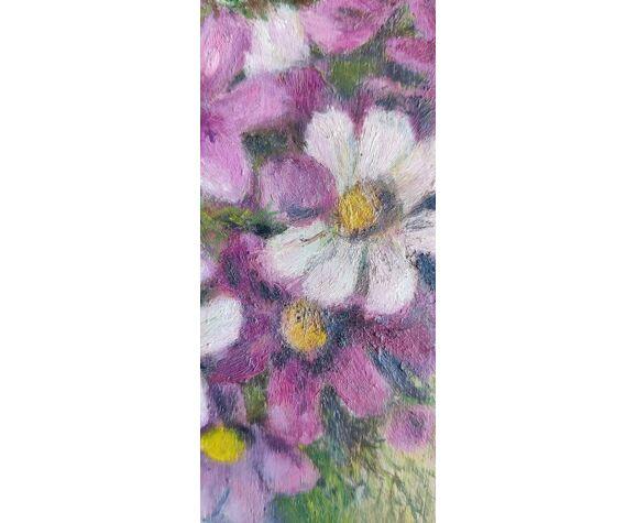 Peinture fleurs signée