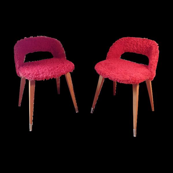 Paire de fauteuils moumoute