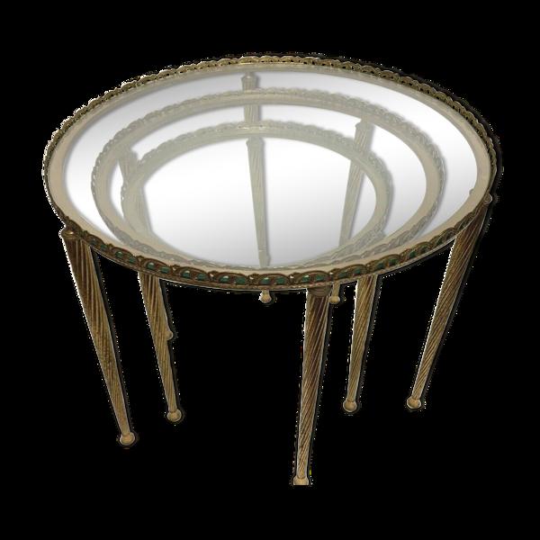 Table gigogne en laiton, XX siècle