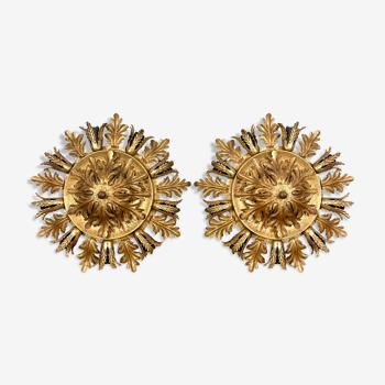 Ensemble de deux plafonniers à fleurs Vintage golden banci Firenze grand