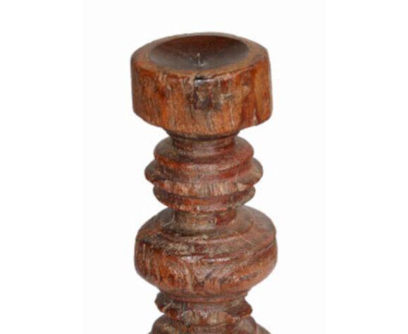 Bougeoir haut bois vieux teck patine d'origine ancien pied de charpoy lit indien 12x40cm