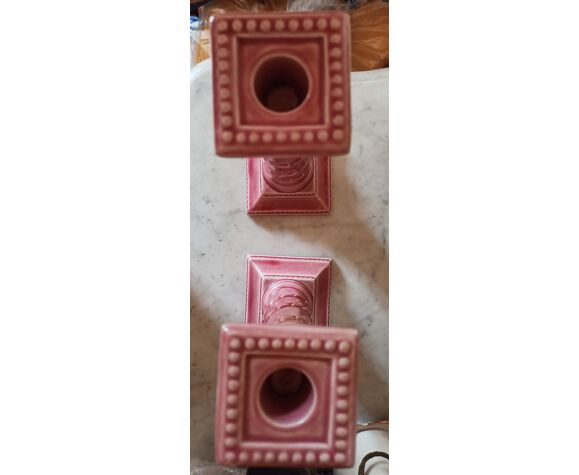 Paire de bougeoirs en céramique
