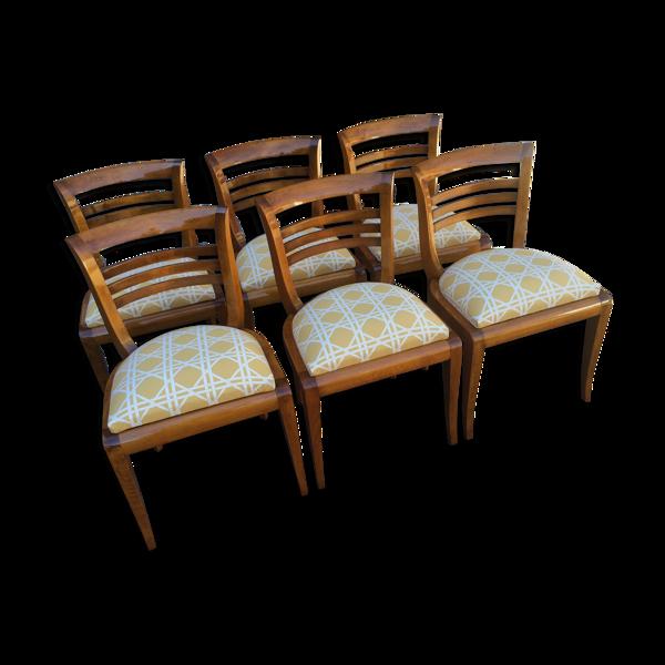 Série de 6 chaises Art Deco en merisier