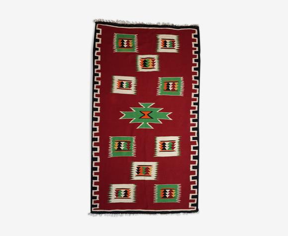 Tapis Kilim rouge en laine tissé à la main 175x100