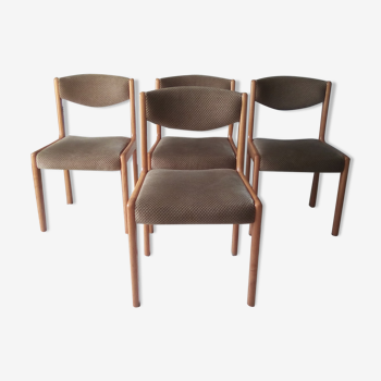 Lot de 4 chaises scandinaves en orme massif années 70