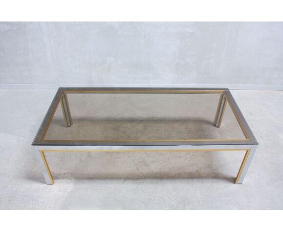 Table basse italienne chrome & verre par Renato Zevi années 1970