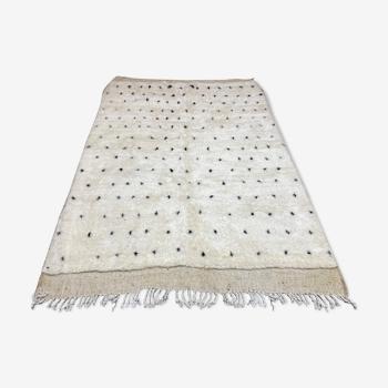 Tapis laine blanc au points