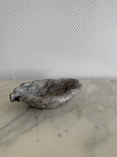 Cendrier feuille en pierre veiné gris & blanc