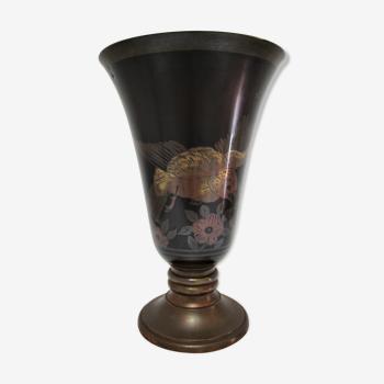 Lampe vasque art déco métal et marbre signée a.ducobu décor fleurs oiseau