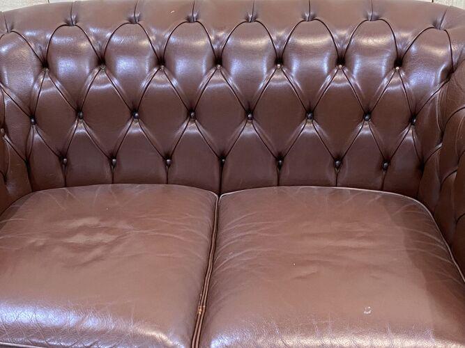 Canapé Chesterfield en cuir chocolat des années 1990