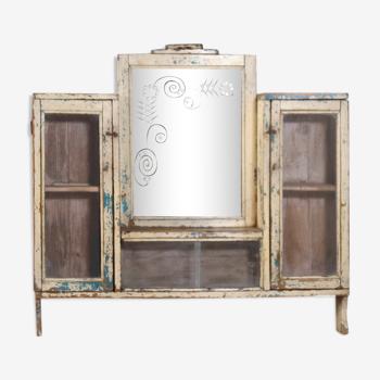Ancien miroir - vitrine de barbier Art déco en teck birman