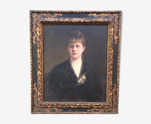 Portrait encadré signé Joseph Fortuné Layraud 1834-1912