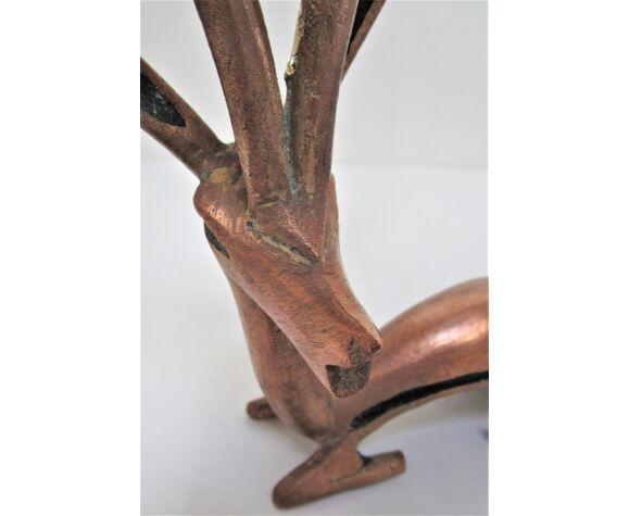 Antilope gazelle laiton vintage xl 40 cm de haut