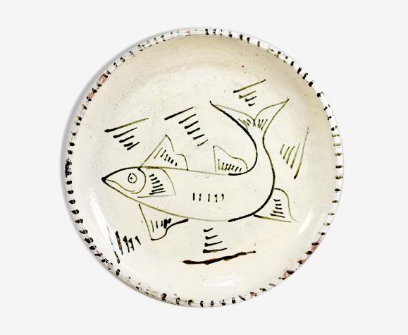 Assiette au poisson en céramique émaillée