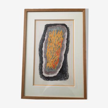 """Paul-Emile Victor """"langue de feu"""" 1968 dessin aux feutres polychromes sur papier"""
