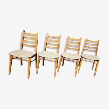 Suite de 4 chaises années 60/70