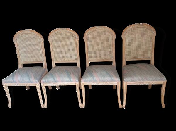 4 chaises dos cannée hêtre cérusé