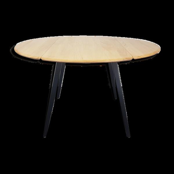 Selency Table à manger ronde Ercol à rallonge - pied noir, années 1960