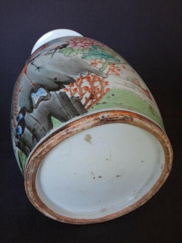 Vase Chinois oiseau grue porcelaine 43cm marque XIX