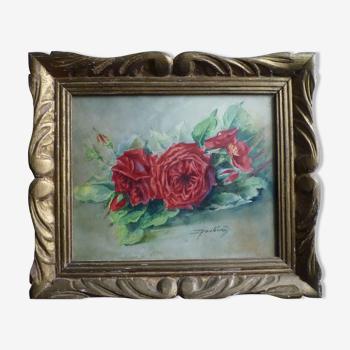 Aquarelle roses rouges 1958