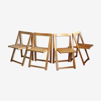 Set 4 chaises pliantes en bois