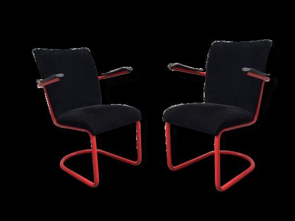 Paire de fauteuils noir et rouge Willem Gispen, 1937