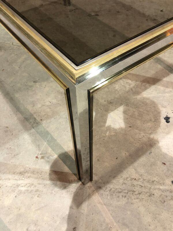 Table en chrome et laiton