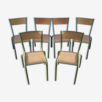Set de 6 chaises d'école Mullca