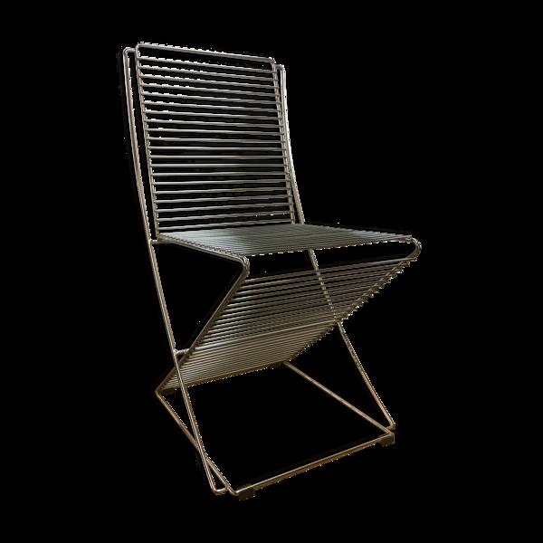 Selency Chaise en fil métallique et chromé, années 1970